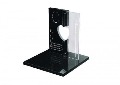 zwart graniet en glas met lasergravure